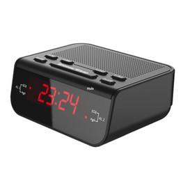 Зуммер красный онлайн-Бесплатная доставка современный компактный цифровой будильник FM-радио с двойной будильник зуммер таймер сна красный светодиодный дисплей времени часы