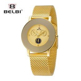 Wholesale Brass Needles - BELBI Women Watches AAA Luxury Simple Six Needles Analog Display Female Wristwatch Fashion Ultra-thin Stainless Steel Dress Ladies Clock