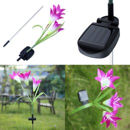 Wholesale Solar Powered Balcony Lights - Wholesale-Purple Lily Solar Powered 3 LED Flower Garden Decor Balcony Party Light