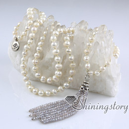 Wholesale Wholesale Long Beaded Necklaces - buddhist prayer beads necklace 108 chanting mantra meditation beads cultured long pearl and crystal necklaces freshwater pearls jewellery