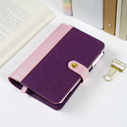 Wholesale Pu Leather Binder - Personal Dairy Felt With Pu Leather Travel Journal Golden Ring Office Binder Notebook