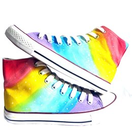 Wholesale Couple Painting Canvas - Unisex Adult Couple Graffiti Hand Painted Canvas Shoes High Top Style Rainbow Striped Design Fashion Shoes for Men Women