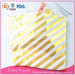 Wholesale Paper Treat Bag - Free shipping!!! Wedding party favor 200pcs lot treat bags foil gold paper candy bags for baby shower birthday party Xmas