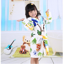 Wholesale Leopard Yarn - 2016 cotton worsted flannel children's bathrobes bear star leopard cat dots cartoon kids bath robe sleep wear gils bath robe