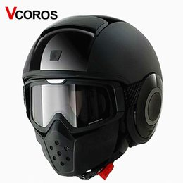 Wholesale Motorcycle Helmets Brands - VCOROS brand vintage Detachable Goggles Mouth Filter retro mask Half Open Face Motorcycle Helmets mask cosplay prop goggles