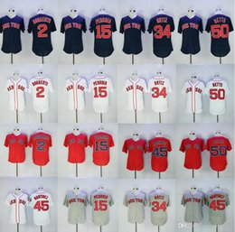 Wholesale M L Xl Xxl - 2017 Men's Boston Red Sox 34 David Ortiz 15 Dustin Pedroia 50 Mookie Betts 2 Xander Bogaerts 45 Pedro Martinez baseball jersey