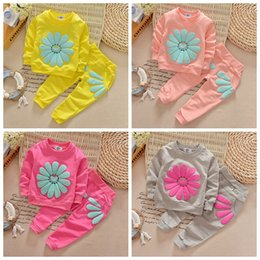 Wholesale Babies Watermelon Costume - 2017 New 2pcs spring autumn children clothing set baby girls sports suit sunflower casual costume top quality