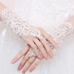 Wholesale Short Rhinestone Wedding Gloves - Bride wedding gloves Rhinestones Lace White gloves No finger Short gloves marry Wedding dress Dress Accessories