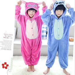 Wholesale Animal Jumpsuits - blue Stitch Coral Fleece child onesies blue Stitch Pyjamas Warm jumpsuits Party Pajamas Outfit Costume Kid Cartoon Baby Animal Sleepwear