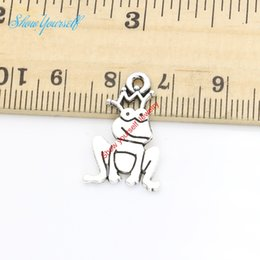 Wholesale Gold Frog Jewelry - 20pcs Antique Silver Plated Frog Charms Pendants for Necklace Jewelry Making DIY Handmade Craft 22x14mm