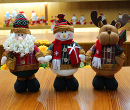 Wholesale Wholesale Christmas Stocking Stand - Indoor Christmas Decorations Xmas Decorations Standing Posit Santa Claus Snowman Elk Decoration 35*17cm Children Kids Toys In Stock