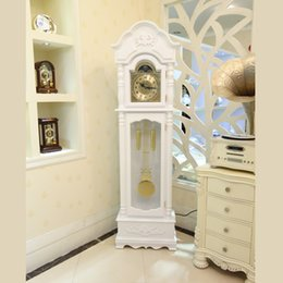 European Style Living Room Floor Watch White Wood Carving Fashion Feng Shui Copper Mechanical Clock Pendulum UK