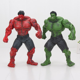 "Wholesale Movie Action Toy - 10"" Red and green Hulk Action Figure The Avengers PVC Figure Toy Hands Adjusted Movie Lovers Collection"