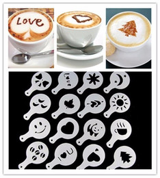 Wholesale Art Pads - 16pcs set Coffee Tool Mold Coffee Art Barista Stencils Template Strew Pad Duster Spray Print Mold wen4357