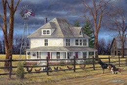Wholesale Canvas Farm - Thomas Kinkade Landscape Oil Painting Reproduction High Quality Giclee Print on Canvas Farm hut and Dogs Modern Home Art Living Room Decor
