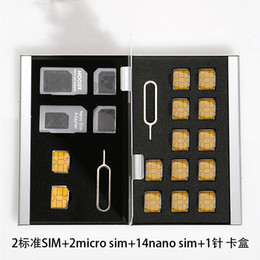 Wholesale Memory Card For Psv - Wholesale Aluminum Memory Card Storage Case Box Holders Sliver for Micro Sim Card Nano Sim Card SD TF CF PSV Cards Protector Holder Case