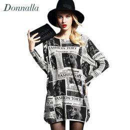 Wholesale Newspaper Sleeves - Wholesale- Women Sweaters Autumn Newest Newspaper Printing Women's Pullover Long Sweater Plus Size Dress Loose Soft Thin Sweater