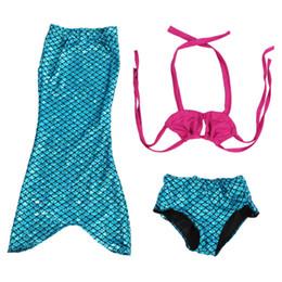 Wholesale Sexy Kids Bathing Suit - Girl Cosplay custome Baby girl kids Mermaid Tail fancy green Dress Swimmable Bikini Set Sexy Bathing Suit Christmas