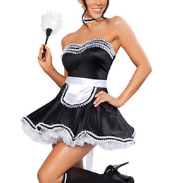Wholesale Hot Black Woman Maid - Hot Sale Black Cute Strapless Lace Trim Adult French Maid Cosplay Costume Fancy dress Sexy Halloween Costume W348194