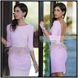 Wholesale Elegant Short Feather Prom Dresses - Pink Beauty Elegant Women Prom Party Dresses Half Sleeve Custom Made Beads Straight Sheath Cocktail Dress with Feathers