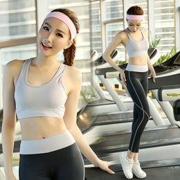 Wholesale Dance Clothes Woman Fitness - Wholesale-Yoga Clothes Sets 2pcs set Yoga Fitness Dance Aerobics Clothing Yoga Fitness Clothing for Women Y8828