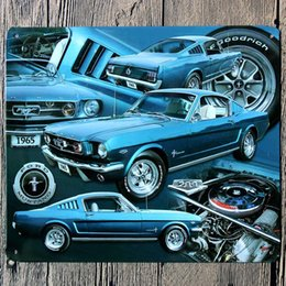Wholesale Vintage Metal Cars - Wholesale- 18*21CM 1965 Blue Car Metal Poster Ford Mustang Tin Sign Wall Decor Vintage Gift Bar Club Pub Iron Tin Metal Painting Plate
