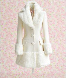 Wholesale White Slim Fit Parka - Womens Coat Winter Warm Trench Woolen Slim Faux Fur Collar Soft Long Jacket Parkas Outwear Princess White Pure Fit New White Snow Luxury