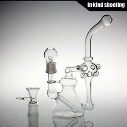"""Wholesale Best Gift Smoking - beaker bongs Best Quality Smoking Water Pipes 10"""" Double Recycler Glass Water Bong Wholesale Water Pipes 18mm Joint oil rigs glass bongs"""
