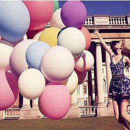 Wholesale Wholesale Party Blow Ups - Wholesale-Inflable Big Latex Balloons For a Birthday Party Decoration Fashion 1 Pcs Colorful 36 Inches When Blow it Up Balloon Ball Heliu