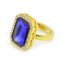 Wholesale Mens Red Diamond Rings - Gold Plated Hip Hop Ring Iced Out Lab Diamond Ruby Mens Rhinestone Studded Faux Blue Tone Square Fashion Ring