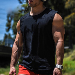 Wholesale Gym T Shirts For Men - Men's Cotton Loose Gym Active Tank Tops For Male Black Sports Fitness Running Casual Wide Shoulder Sleeveless T-Shirts Vests Undershirt
