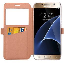Wholesale Iphone 5s Flip Window - Flip Leather Cover for Samsung Galaxy S7 S7 Edge S6 S6 Edge Iphone 5S 6S 6SPlus 5C Wallet Stand Case with Window