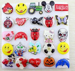 Wholesale Led Flash Badge - Wholesale Halloween Children Toys Gifts Flashing Brooches Chest Badge Cute Cartoon Design Blinking Party Supplies LED Lighted Toys