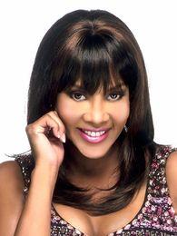 Wholesale Black Medium Length Wig - Xiu Zhi Mei 45cm Dark Brown Medium Length African American Wigs For Black Women Heat Resistant Synthetic Natural Straight Hair Wig