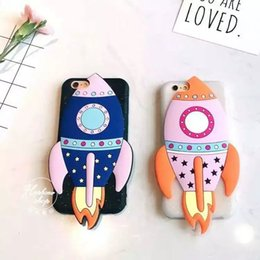 Wholesale iphone5 cute - Cartoon Cute Pink Rockets TPU Rubber Cases Full Protector Shockproof Protective Shell For iPhone5 6  6S Plus Soft Back Cover