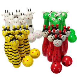 Wholesale Children Mini Train - Wholesale- Free shipping 2016 Mini Cartoon Wooden Bowling Ball Skittle Game Cute Animal Shape For Kids Children training