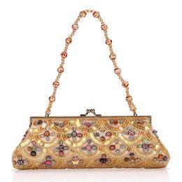Wholesale Embroidery Factories - factory sales fashion handmade beaded Beaded Handbag Sequin ladies fashion brand portable Dinner Bag retro Handmade Beaded ladies handbag