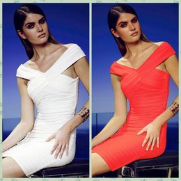 Wholesale Nice Celebrity White Dresses - Nice Pop Fashion Summer Women White Red Bodycon Bandage Dress Sexy Criss Cross Cap Sleeves Celebrities Club Party Mini Casual Dress 23838