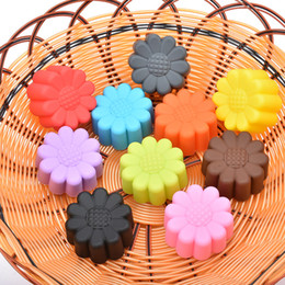 Wholesale Resin Cupcakes - Wholesale- 1pcs Sunflower Shaped Cake Cupcake Candy Resin Molds, Silicone DIY Soap Mold,Silicone Cake Mould,Fondant Cake Decorating Tools