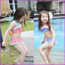Wholesale Hot Pink Swimsuit 4t - 2016 Childs Bikini Straps Plaid Printed Beach Clothing 3Pcs Set With Hat Beach Clothes with cap Kids hot springs swimsuit Bathing Suits