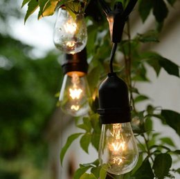 Wholesale E27 String - 15 Bulb Strings Vintage Style Outdoor String Commercial Patio String Light Incandescent 11W S14 Bulbs 48 Feets 15 Lights E27 Bulb Light