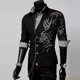 fashion dressing style men shirt Coupons - Hot Sale Men Male Fashion Long Sleeve European Style Tattoo Dragon Printed Shirt Silm Fit Shirt 4 Size 4 Colors
