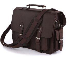 "Wholesale Business Travel Suitcase - Wholesale-Vintage Crazy horse leather men travel bag Genuine Leather Men Messenger Bag Big 15""Laptop Briefcase Business Travel Duffle"