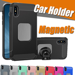 Wholesale Car Cover Layer - Armor Hybrid Dual Layer Car Stand Holder Magnetic Phone Protective Anti-shock Cover Case For iPhone X 8 7 plus Samsung Galaxy S8 Plus Note 8