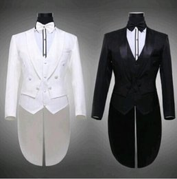 Wholesale Pinstripe Mens Clothing - Mens White Suit For Weddings Suits For Men Tuxedo White Black Tuxedo Prom Suits Party Clothing Black And White Tuxedo Dress