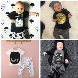 Wholesale Casual Outfits For Kids Boys - Baby kids clothes baby boy suit romper bodysuits jump suit outfits clothes 100% cotton many styles for choose 4s l