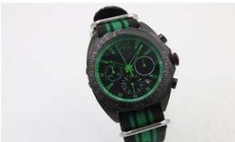 Wholesale Chronometer Quartz - New Arrival Green Hands Black Dail CR7 Quartz Men's Wristwatch Tachymetre Popular Fabric Belt Black Silicone Skeleton Chronometer Male Watch