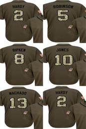 Wholesale Baseball Jersey Baltimore - Baltimore 13 Manny Machado 10 Adam Jones 8 Cal Ripken 5 Brooks Robinson 2 J.J. Hardy Green Salute to Service Stitched Cheap Baseball Jersey