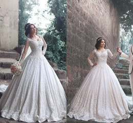 Wholesale Luxury Designer Long Dresses - Luxury 2017 New Designer A Line Lace Wedding Dresses Long Sleeves Scoop Wedding Gowns For Women Free Shipping