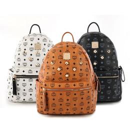 Wholesale Designer Bag Men Leather - High quality PU LEATHER designer fashion korean men women school backpack hot selling brand Punk rivet women shoulder daypack student bags